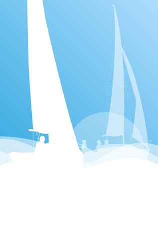 Sailing yacht race vector background transportation competition concept in light blue and white colors