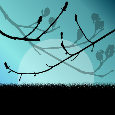 tree grass: Tree branch with buds spring vector background landscape with grass field