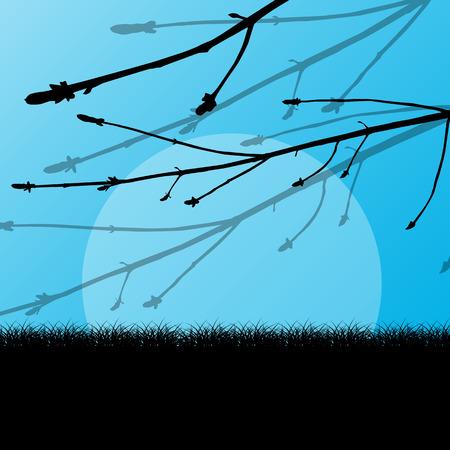speelveld gras: Boom tak met knoppen spring vector achtergrond landschap met gras veld Stock Illustratie