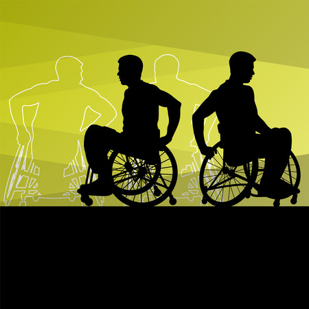 disability: Active young disabled men basketball players in a wheelchair detailed sport concept silhouette illustration background vector