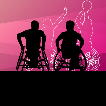 disabled sports: Active young disabled men basketball players in a wheelchair detailed sport concept silhouette illustration background vector