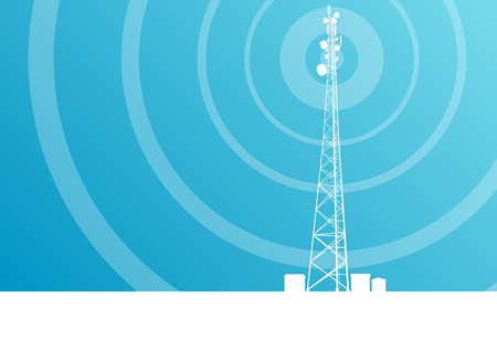communication tower: Antenna transmission communication tower vector background concept