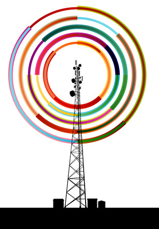 communications tower: Antenna transmission communication tower vector background concept