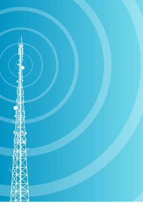 Antenne transmissie communicatie toren vector, achtergrond, concept Stock Illustratie