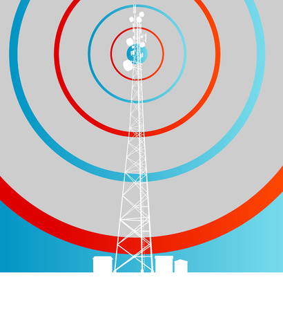 telephonic: Antenna transmission communication tower vector background concept
