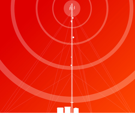 Antenna transmission communication tower vector background concept
