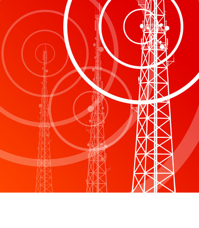 wan: Antenna transmission communication tower vector background concept