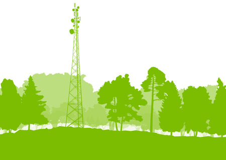 communication tower: Antenna transmission communication tower vector background green network concept
