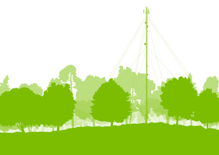 telephonic: Antenna transmission communication tower vector background green network concept