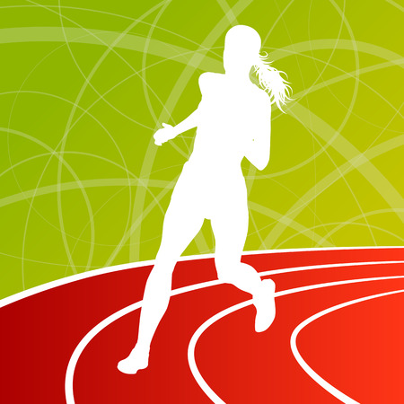 step fitness: Running fitness women sprinting and training for marathon for poster