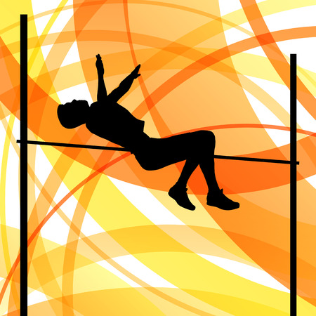 Man high jumping abstract vector background concept, track and field for poster Vector