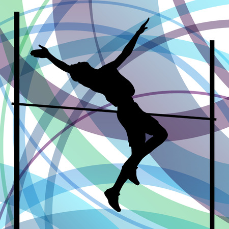 decathlon: Man high jumping abstract vector background concept, track and field for poster Illustration