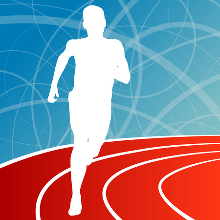 step fitness: Running fitness man sprinting and training for marathon concept
