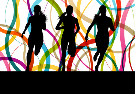 starting: Running fitness women sprinting and training for marathon for poster