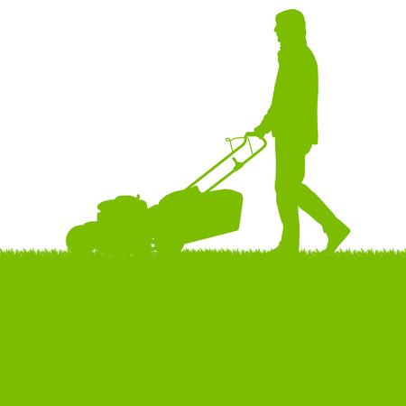 mantenimiento: Hombre con cortacésped cortar hierba vector de fondo concepto de la ecología para el cartel