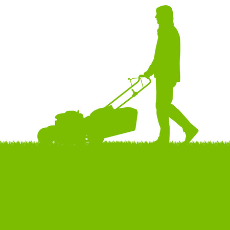 grass: Man with lawn mover cutting grass vector background ecology concept for poster