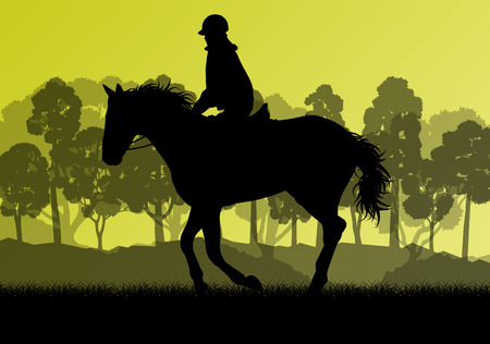 freedom nature: Horseback rider silhouette in nature vector background landscape freedom concept