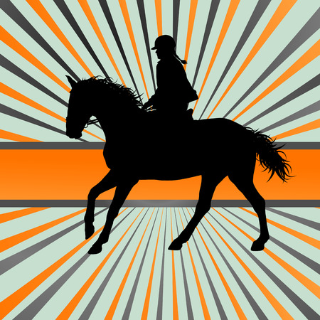 riding horse: Horse riding vector background freedom concept Illustration