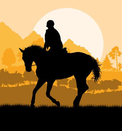 ciclista silueta: Silueta del jinete a caballo en la naturaleza del fondo del vector libertad paisaje concepto