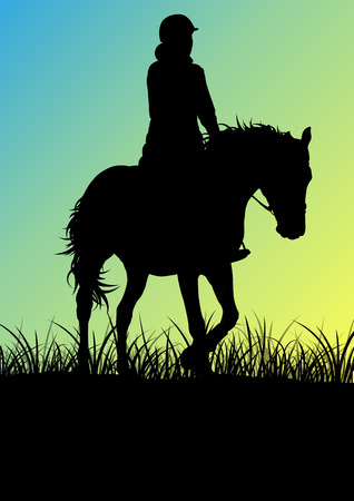 morning sunrise: Horse riding woman in morning sunrise vector background freedom concept