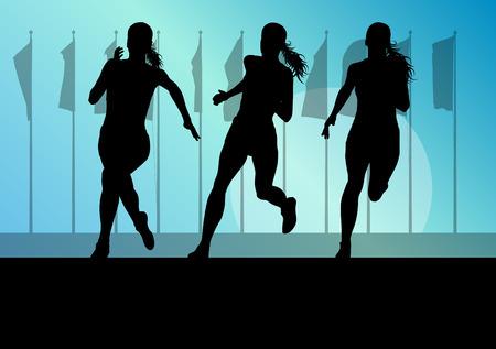 coureur: Femme coureur groupe sprinter femme notion vecteur de fond pour l'affiche Illustration