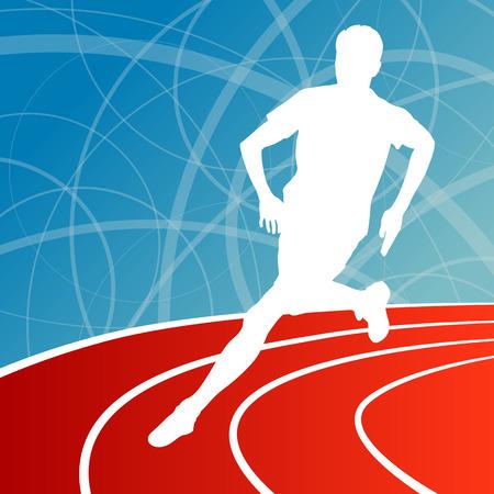 road runner: Running fitness man sprinting and training for marathon concept