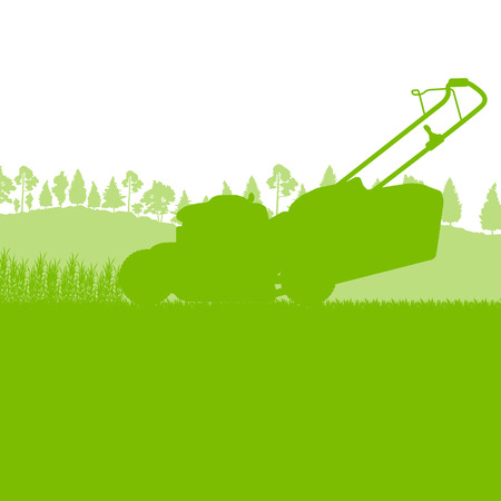 adult care: Lawn mover cutting grass vector background ecology concept