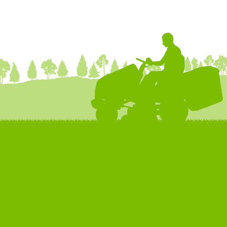 mover: Man with lawn mover cutting grass vector background ecology concept for poster