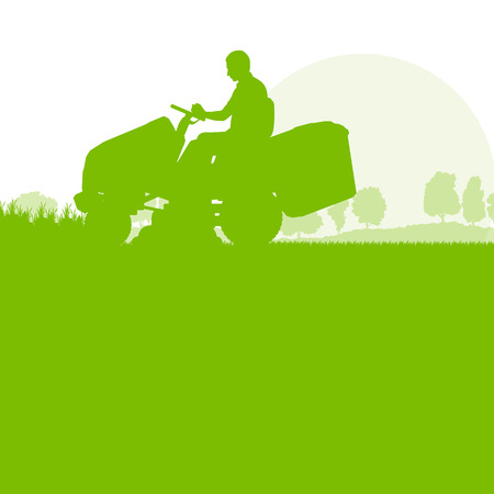 push mower: Man with lawn mover cutting grass vector background ecology concept for poster