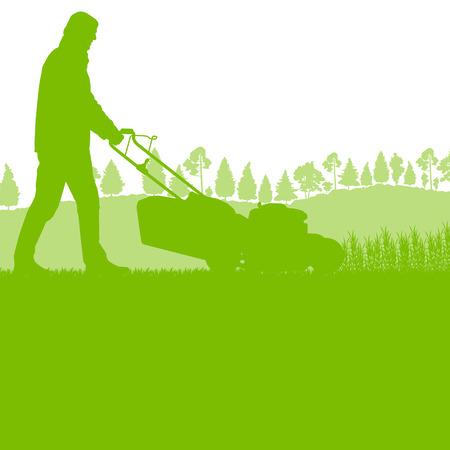 Man met gazon mover maaien van gras vector achtergrond ecologisch concept voor poster