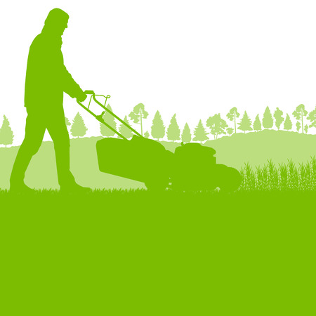 mower: Man with lawn mover cutting grass vector background ecology concept for poster