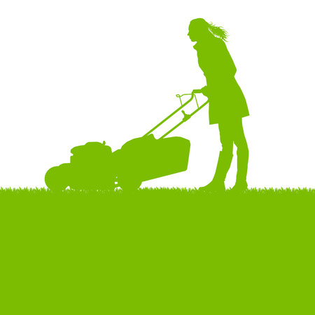 push mower: Woman with lawn mover cutting grass vector background ecology concept Illustration