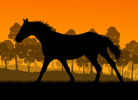 galloping: Wild horse in nature vector background landscape freedom concept for poster Illustration