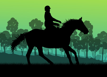 equitation: Horseback rider silhouette in nature vector background landscape freedom concept