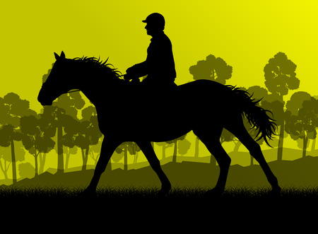 derby: Horseback rider silhouette in nature vector background landscape freedom concept