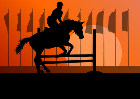 equestrian: Horse jumping, overcoming obstacles, equestrian sport show with horse and rider vector background concept Illustration