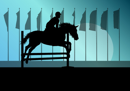 Horse jumping, overcoming obstacles, equestrian sport show with horse and rider vector background concept Illustration