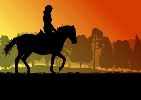 Silueta del jinete a caballo en la naturaleza del fondo del vector libertad paisaje concepto Ilustración de vector