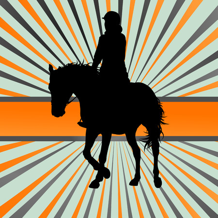 Horse riding vector background freedom concept Ilustracja