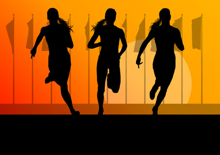 runner: Woman runner female sprinter group vector background concept for poster Illustration