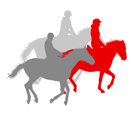 riding horse: Horse riding winner vector background concept isolated over white for poster