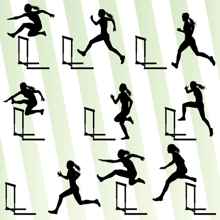 jumping: Athlete woman hurdling in track and field vector background set concept