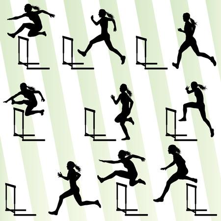 persona saltando: La mujer del atleta vallas en pista y campo de vectores de fondo conjunto de concepto