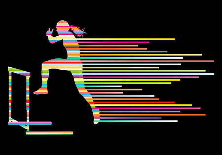 track and field: Athlete woman hurdling in track and field vector background concept made of stripes