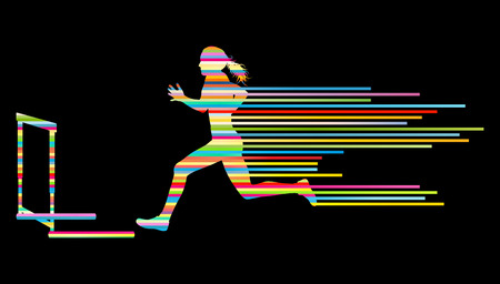 fast track: Athlete woman hurdling in track and field vector background concept made of stripes