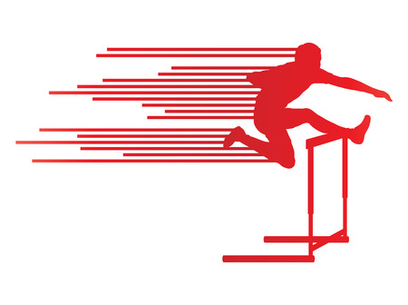 track and field: Athlete man hurdling in track and field vector background concept made of stripes