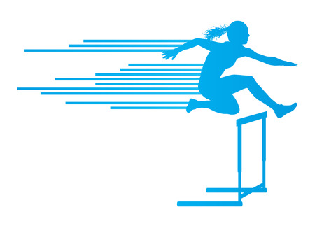 Athlete woman hurdling in track and field vector background concept made of stripes