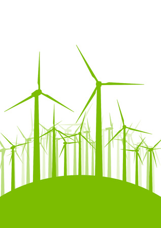 wind turbine: Wind generator turbine clean energy concept vector background concept