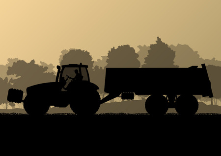 labranza: Agricultura tractor con remolque de ma�z en el pa�s cultivado campo de grano fondo del paisaje ilustraci�n vectorial concepto de la ecolog�a