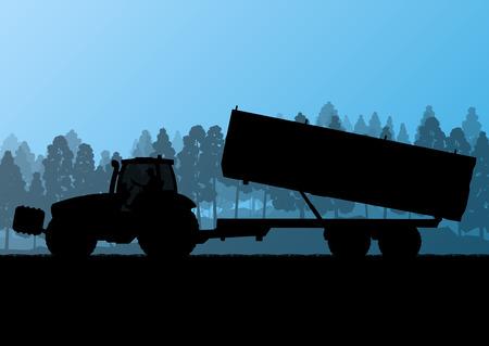 labranza: Agricultura tractor con remolque de maíz en el país cultivado campo de grano fondo del paisaje ilustración vectorial concepto de la ecología